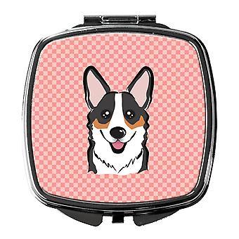Carolines Treasures  BB1255SCM Checkerboard Pink Corgi Compact Mirror