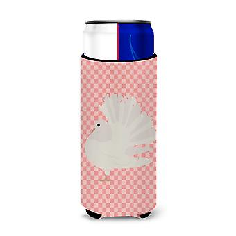 Silver Fantail Pigeon Pink Check Michelob Ultra Hugger for slim cans