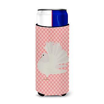 Silber Fantail Taube Pink Check Michelob Ultra Hugger für schlanke Dosen
