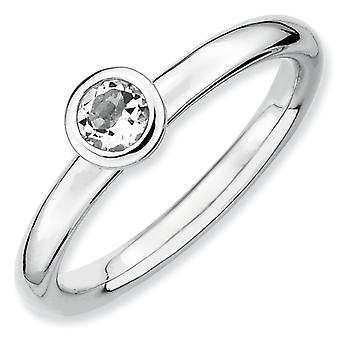 Sterling Silver Bezel Polished Rhodium-plated Stackable Expressions Low 4mm Round White Topaz Ring - Ring Size: 5 to 10