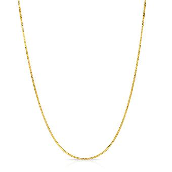 14 k amarillo o blanco caja de oro collar de cadena (0,9 mm)