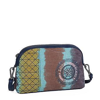 Einstellbare Umhängetasche Frauen Reißverschluss-Tasche. Äußere hintere Reißverschlusstasche. entspannt. Canvas - Kunstfell. Stickerei. 92308