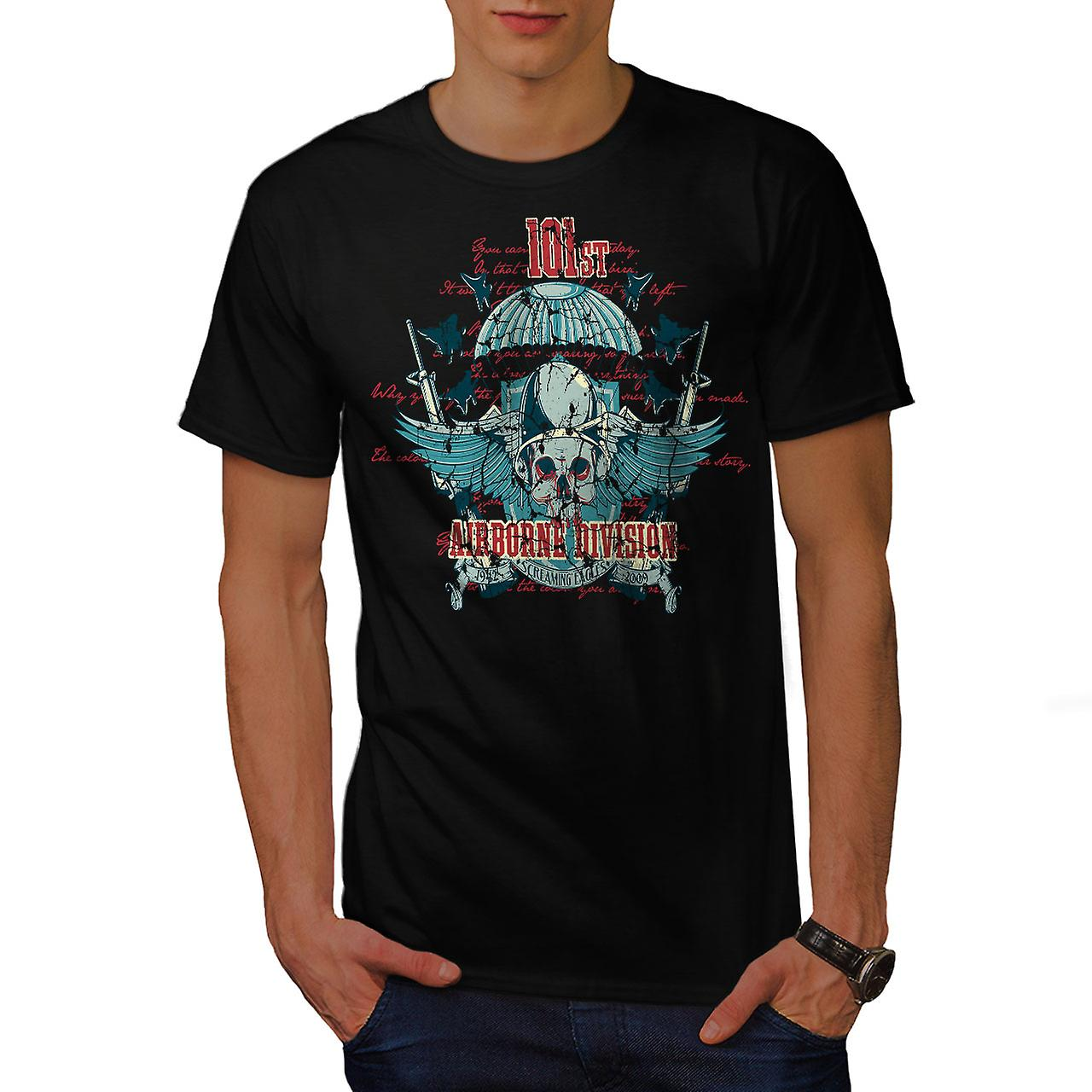 Airborne Division Skull Men Black T-shirt | Wellcoda