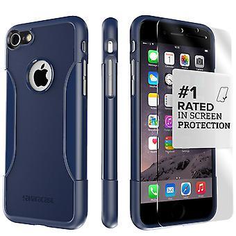 SaharaCase iPhone 8 y 7 azul marino caso, clásico paquete Kit de protección con vidrio templado de ZeroDamage®