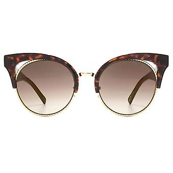 Marc Jacobs Metal Twist Browline Style Sunglasses In Dark Havana