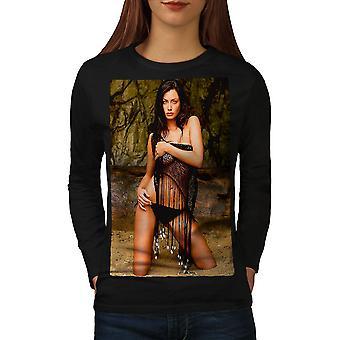 Model Hot Bikini Sexy Women BlackLong Sleeve T-shirt | Wellcoda