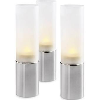 LED decorative light 3-piece set Candle LED Renkforce SH02+MP02-37 White, Silver