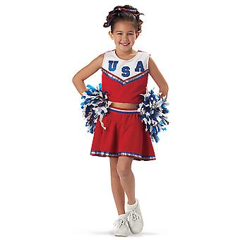 Patriotic Cheerleader School Sport Pom Poms Book Week Girls Costume