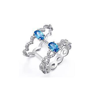 Swarovski elementen Crystal ring blauw en wit en Rhodium plaat
