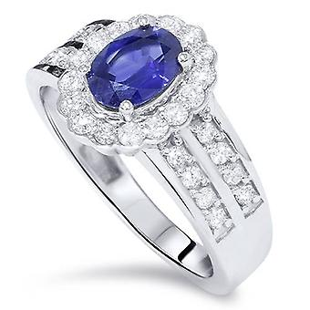 1 1/2ct Oval Sapphire Diamond Halo Ring 14K White Gold
