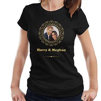 Goldener Rahmen Harry und Meghan Royal Wedding Damen T-Shirt