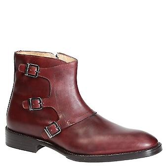 Handmade monk strap boots in burgundy leather