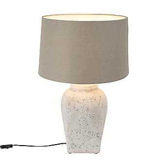 Light and Living Country Round Stone Table Lamp Grey with 45cm Grey Shade - Timmy