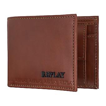 REPLAY portemonnee munt portemonnee portefeuille leder Brown 5082