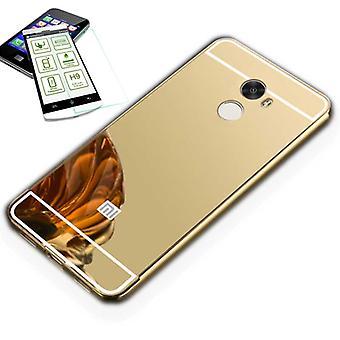 Зеркало / зеркало алюминиевых бампер 2-кусок золота + 0,3 мм H9 пуленепробиваемые стекла для Xiaomi Redmi 5 плюс / Redmi Примечание 5