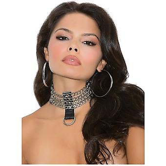 Elegant Moments EM-L9731 Leather and chain choker