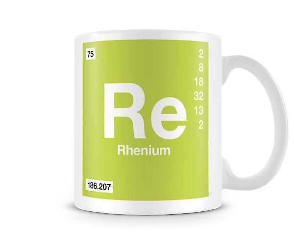 Element-Symbol 075 Re - Rhenium bedruckte Becher