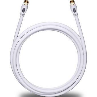 Antenner, lör-kabel [1 x F-kontakt - 1 x F-kontakt] 10 m 120 dB guldpläterade kontakter vit Oehlbach överföring Plus S