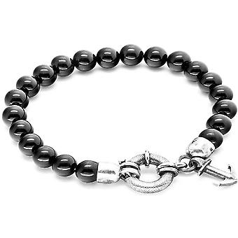 Anchor and Crew Port Silver and Onyx Stone Bracelet - Black/Silver