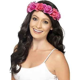 Smiffy's Floral Headband, Pink