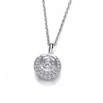 Cavendish franska Silver och dansande CZ Crescent Moon halsband