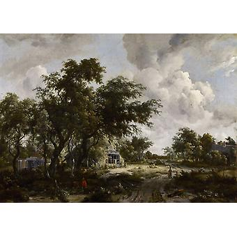Village with water mill among trees, Meindert Hobbema, 40x60cm with tray