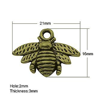 Packet 10 x Steampunk Antique Bronze Tibetan 21mm Bee Charm/Pendant ZX11465