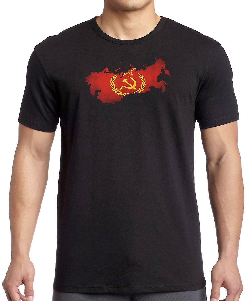 USSR Russia Russian Flag Map T Shirt  - 4xl