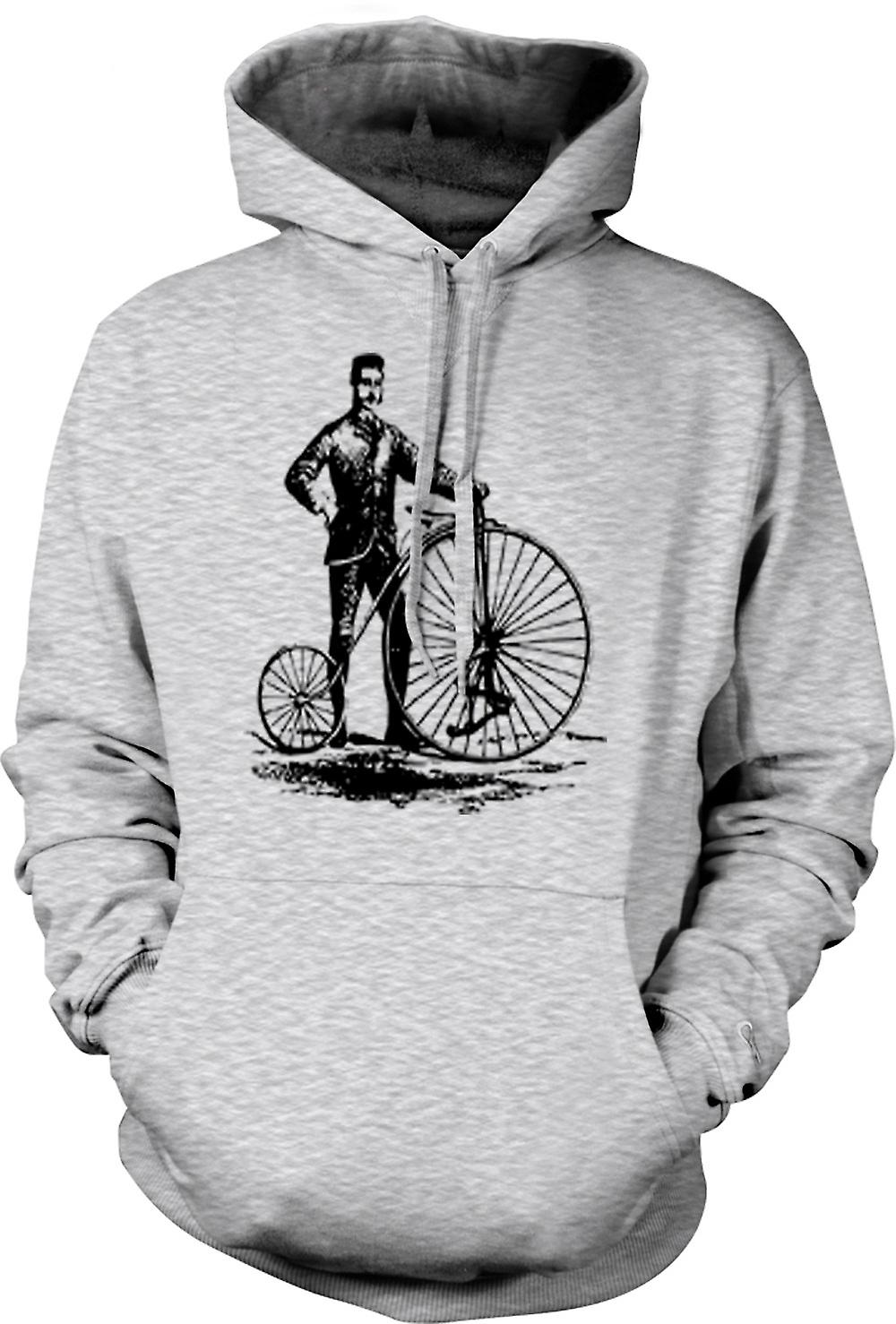 Mens Hoodie - Penny Farthing Classic Bicycle