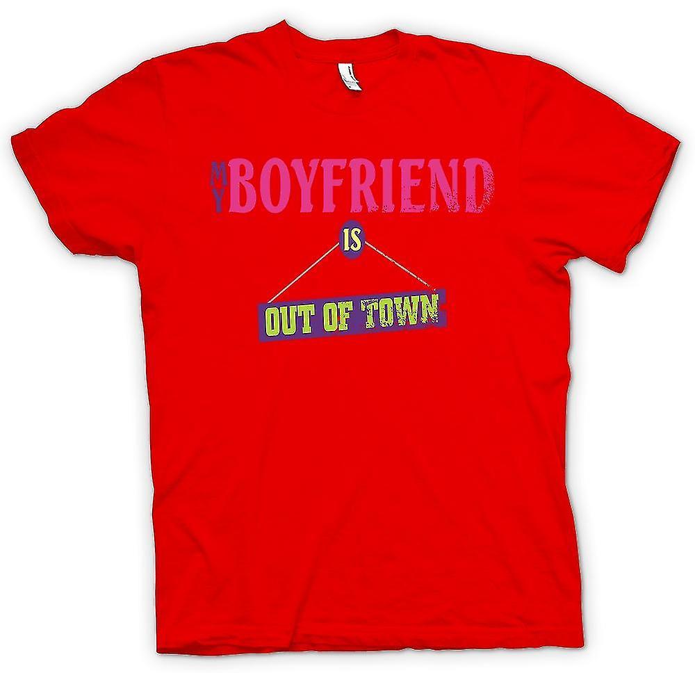 Mens T-shirt - My Boyfriend Is Out Of Town - Joke