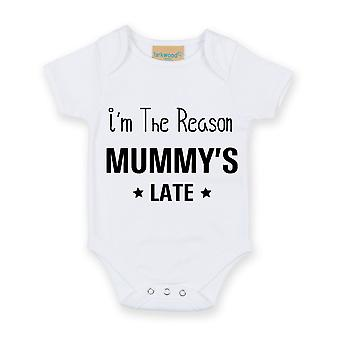 I'm The Reason Mummy's Late White Short Sleeve Baby Grow