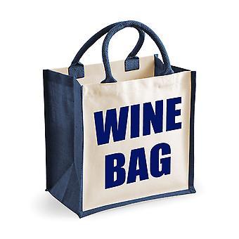 Medium Navy Jute Bag Wine Bag