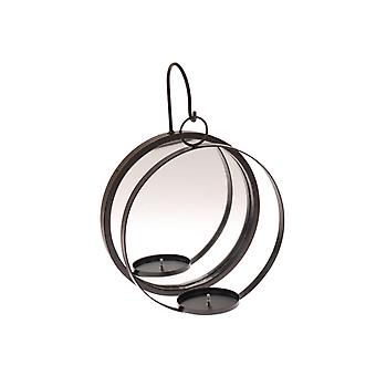 Candle Lantern wall mirror black wrought iron 35 cm