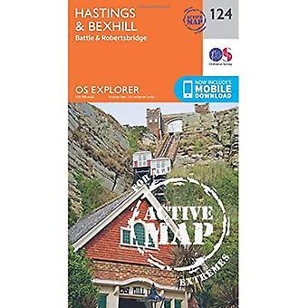 OS Explorer kaart actief (124) Hastings en Bexhill (OS Explorer actieve kaart)
