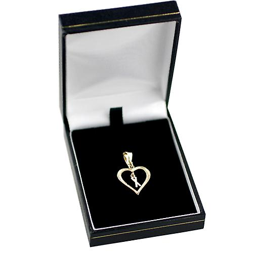 9ct Gold 18x18mm heart Pendant with a hanging Initial X