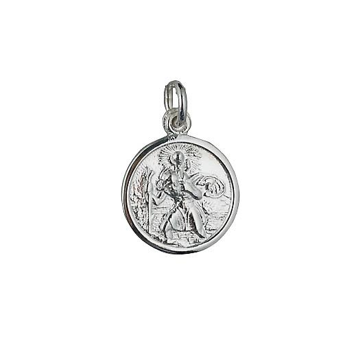 Silver 16mm round St Christopher Pendant