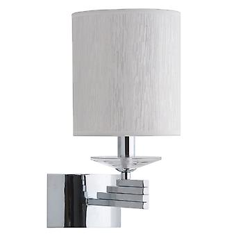 Glasberg  -  Chrome Single Wall Light With White Shade And Crystal Decor  386021801
