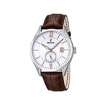 Festina F16872/2 analog quartz watch with leather band