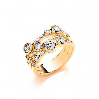Cavendish French Silver, CZ and Gold Vermeil Boodled Ring