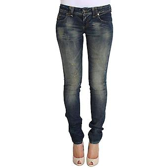 Galliano Blue Wash Skinny Low Cotton Stretch Denim Jeans -- SIG3939333