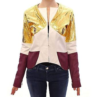 Vladimiro Gioia White Gold Purple Leather Jacket -- GSS1828165