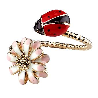 Enamel Flower and Ladybird Adjustable Fashion Ring