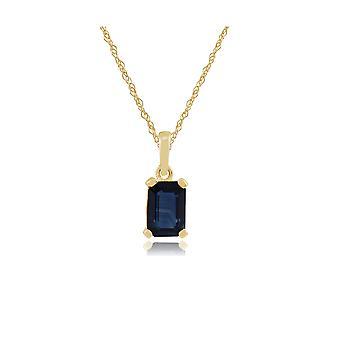 Gemondo 9ct 0,88 ct Sapphire a forma di ottagono giallo oro ciondolo catena