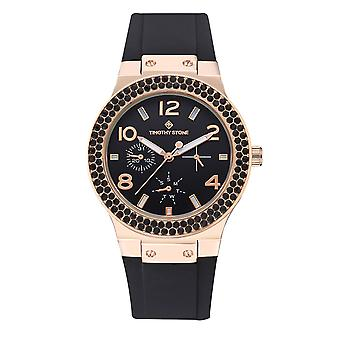 Timothy Stone Women's FACON-SPORT Rose Gold-Tone and Black Strap Watch