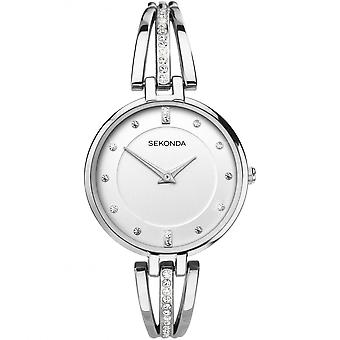 Sekonda Ladies 'Editions' White Dial Stone Set Stainless Steel Bangle Watch