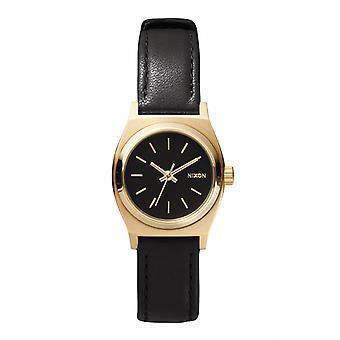 Nixon Small Time Teller cuir noir / or (A509010)