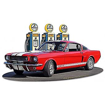 1966 Ford Mustang 350 GT Fill-up  die-cut metal sign 460mm x 265mm  (pst)