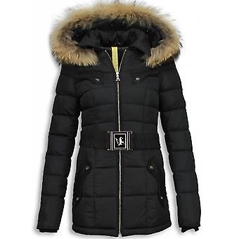 Long ladies Winter coats with fur collar-women Winter Parka