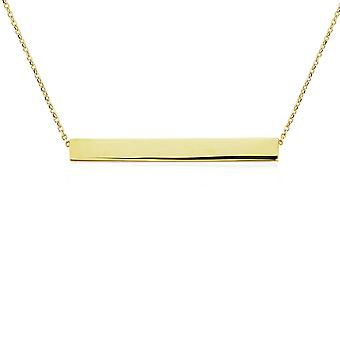 Jewelco London 9ct Gold Polished ID Bar Necklace 35x5mm 17