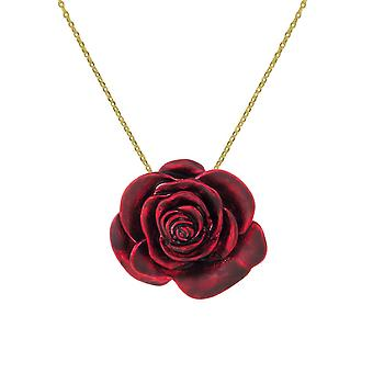Eternal Collection Red Red Rose Enamel Gold Tone Flower Pendant